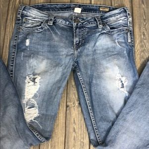 """Silver Jeans Frances18"""" Bootcut Distressed"""